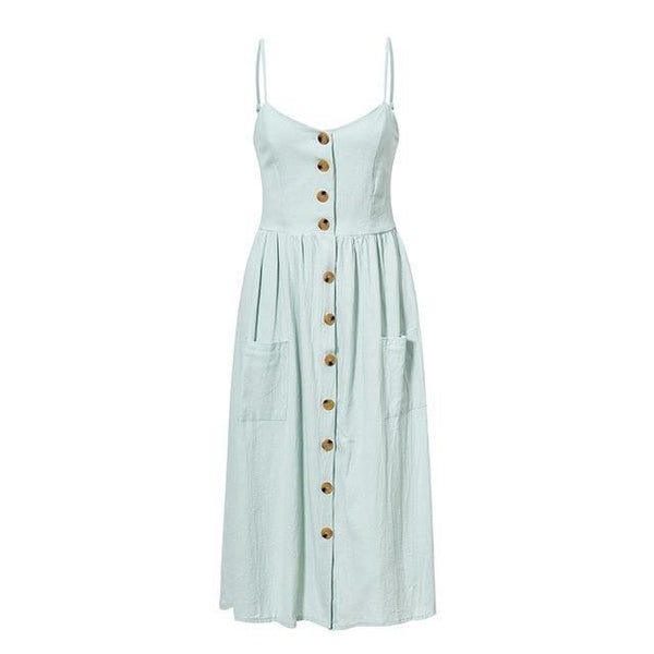 Buttons pockets polka dots cotton dress