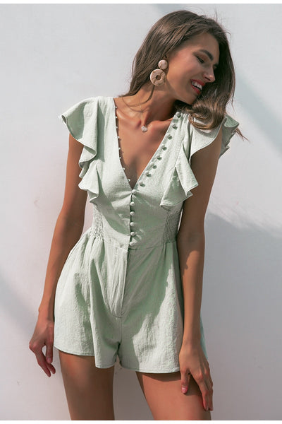V neck ruched linen cotton short Mint green jumpsuit