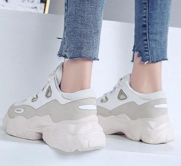 Pink White chunky platform Sneakers