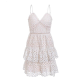 Hollow out embroidery short white dress