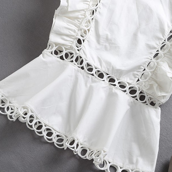 Ruffles Hollow Out white peplum top
