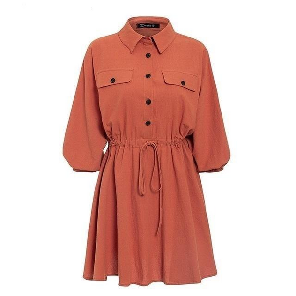 Buttoned vintage cotton shirt dress