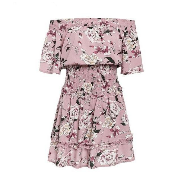 Boho floral print elastic pink short dress