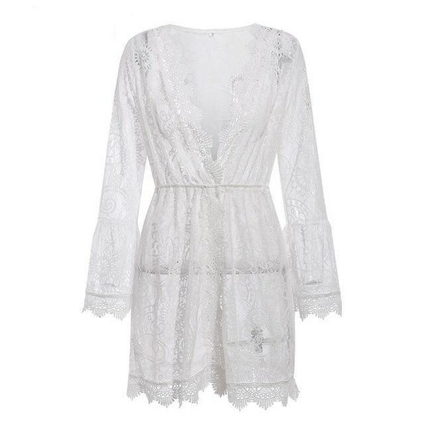 Hollow out lace Loose short white dress