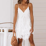 Flower embroidery lace white dress