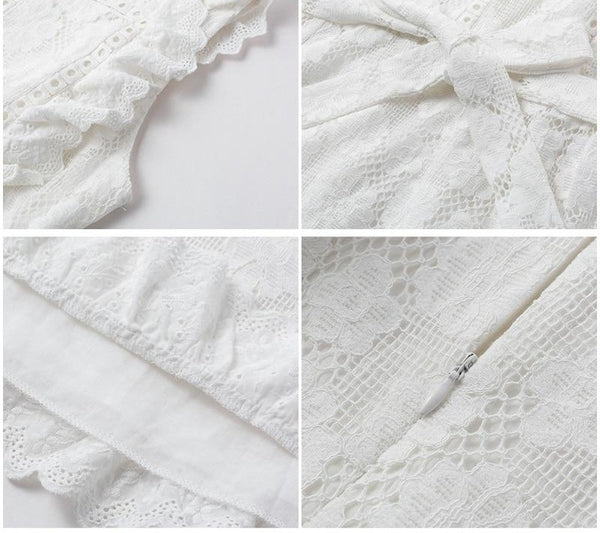 Embroidery Hollow out white short dress