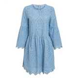 Hollow out Loose blue cotton short dress