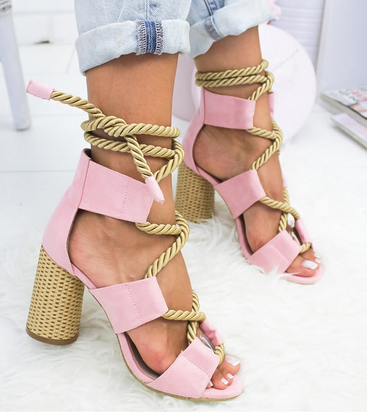 Mixed colours Hemp Lace Up straw heel Sandals