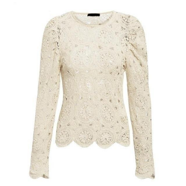 Long sleeve embroidery crochet White top