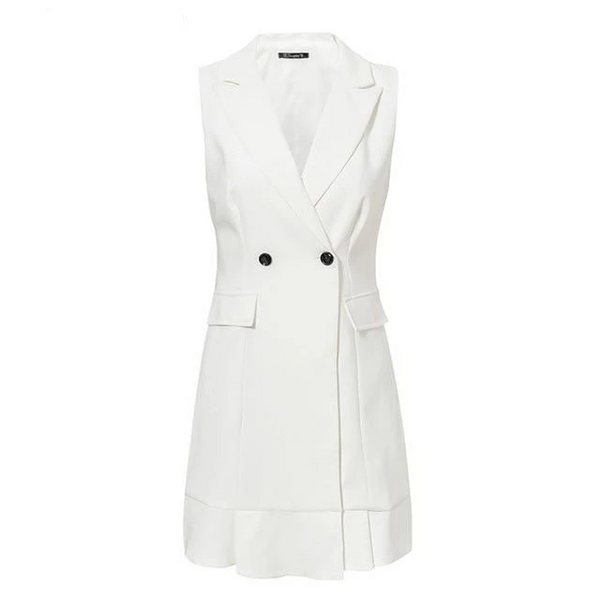 Sleeveless white short blazer dress