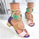 Rope lace up mid straw heel Sandals