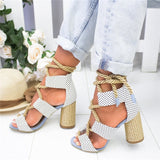 Polka dots rope straw heeled Sandals