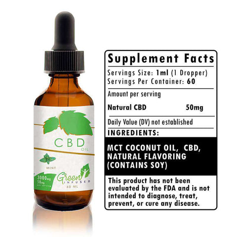 3000 mg Mint CBD Hemp Oil Extract Bottle