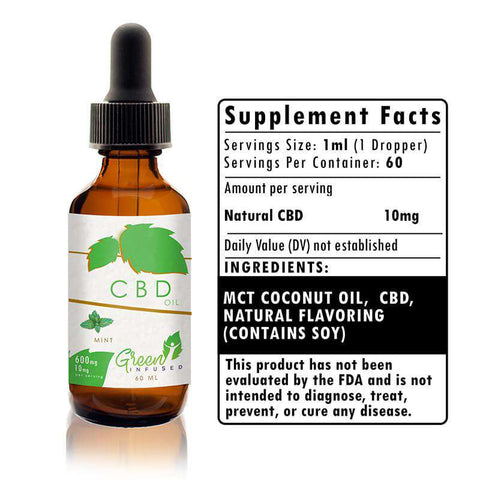 600 mg Mint CBD Hemp Oil Extract Bottle