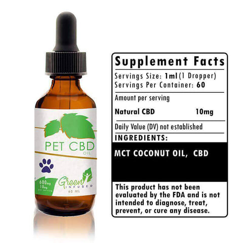 600 mg Pet CBD Hemp Oil Extract Bottle