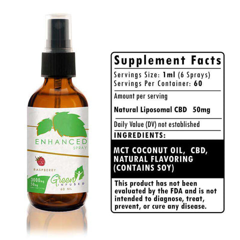 3000 mg Raspberry Enhanced CBD Hemp Oil Extract Spray Bottle