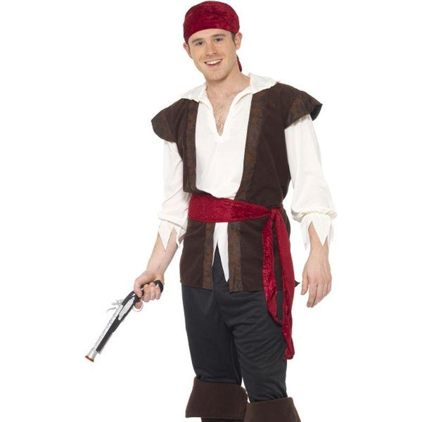 Pirate Costume - XL Mens Brown/White