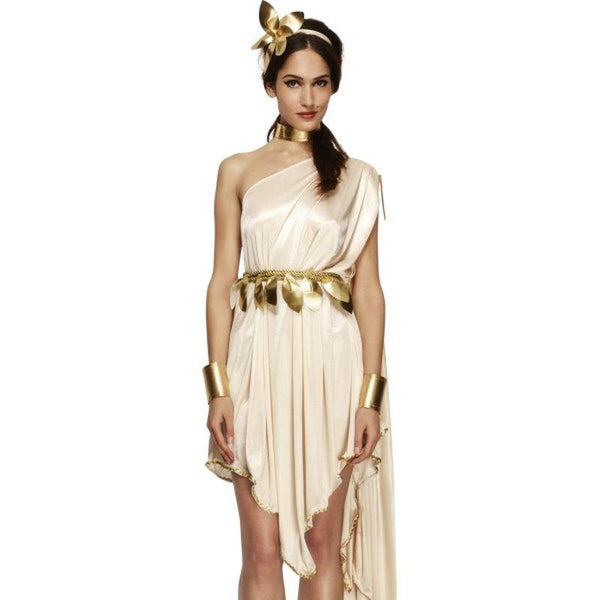 Fever Goddess Costume - UK Dress 8-10 Womens White/Gold