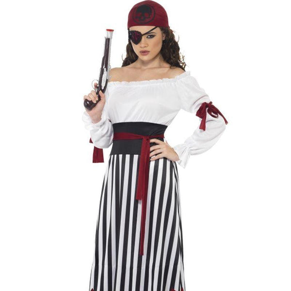 Pirate Lady Costume - UK Dress 8-10 Womens White/Black