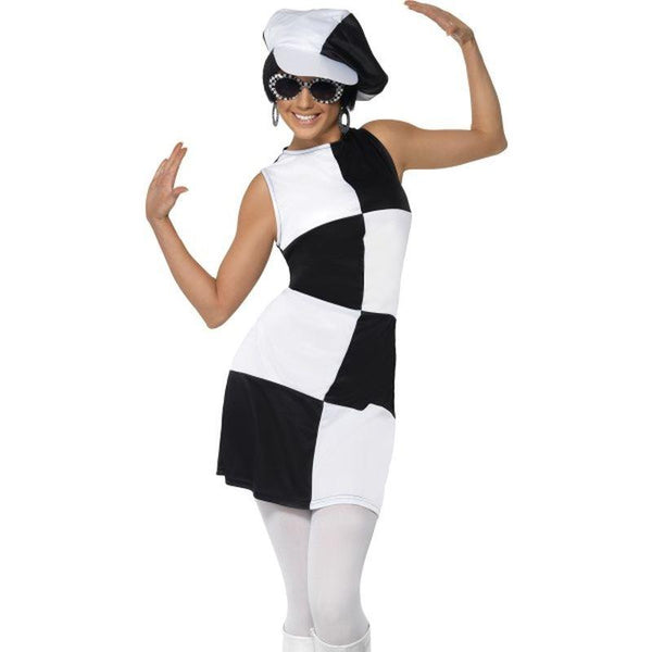 1960S Party Girl Costume, Black and White - UK Dress 8-10 Womens Black/White