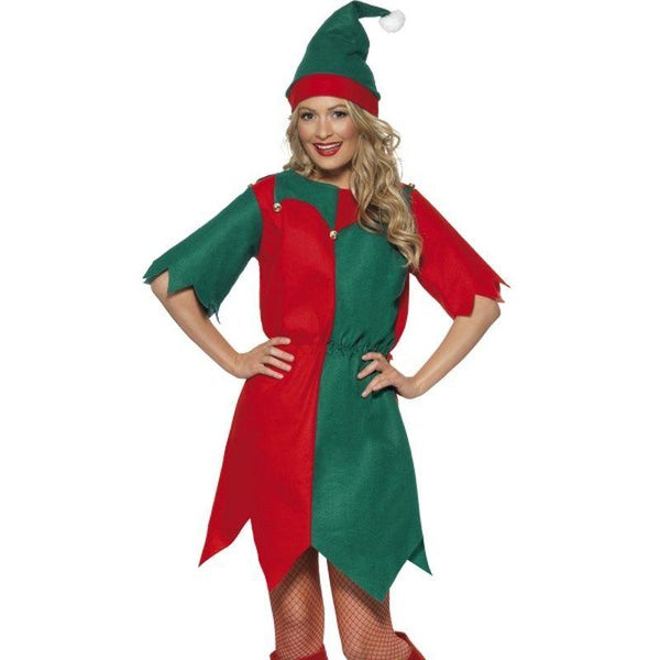 Elf Costume, Ladies Tunic - UK Dress 8-10 Womens Red/Green