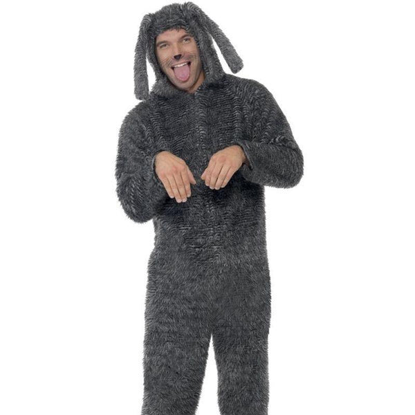 Fluffy Dog Costume - Medium Mens Grey