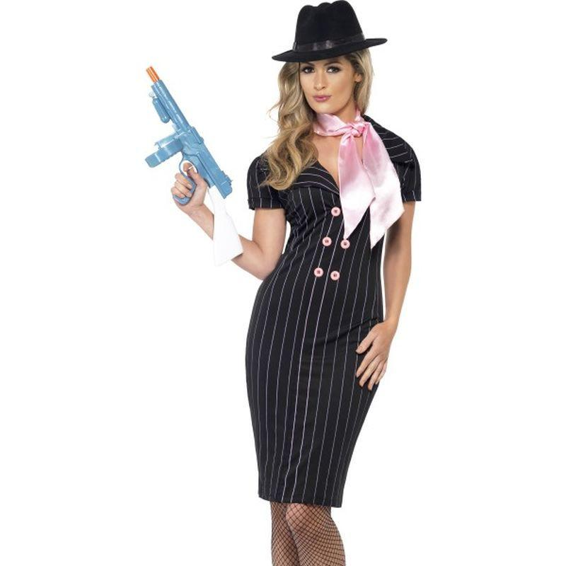 Gangsters Moll Costume - UK Dress 8-10 Womens Black/White