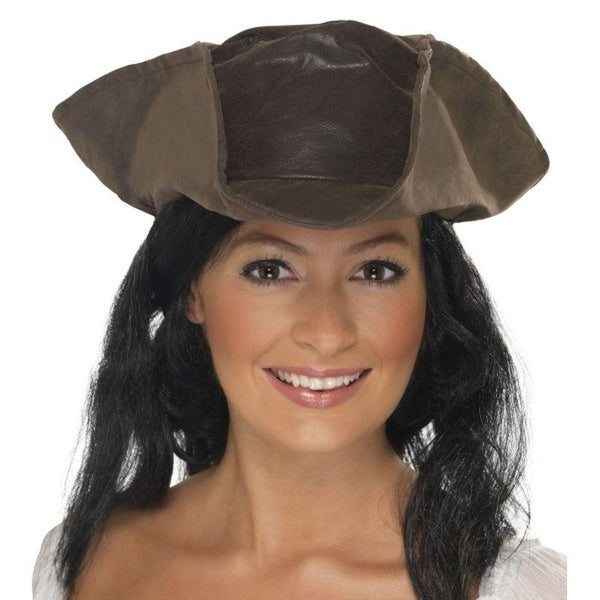 Leather Look Pirate Hat - One Size