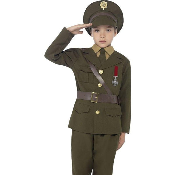 Army Officer Costume, Jacket With Attached Belt - Medium Age 7-9
