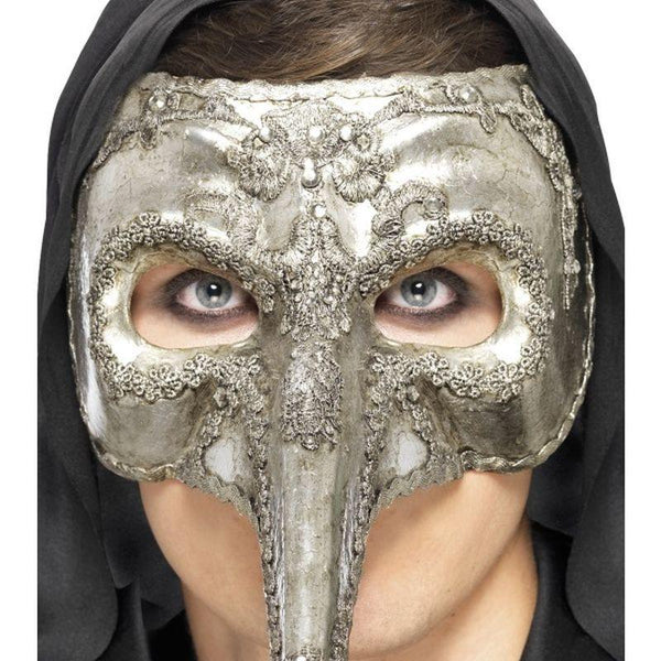 Luxury Venetian Capitano Mask - One Size Mens Silver
