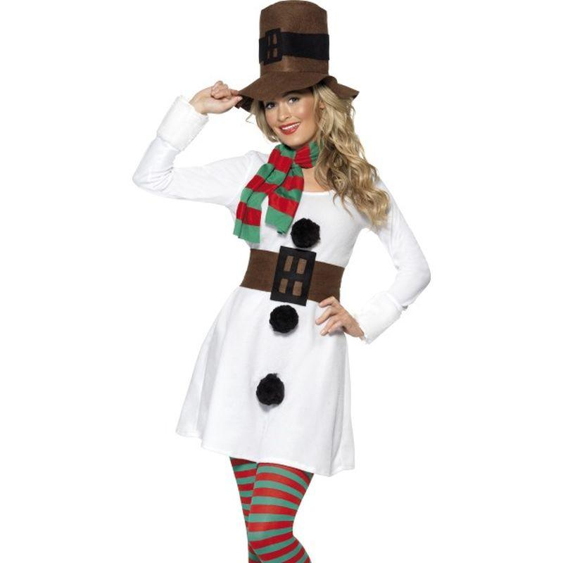Miss Snowman Costume - UK Dress 8-10 Womens White/Brown