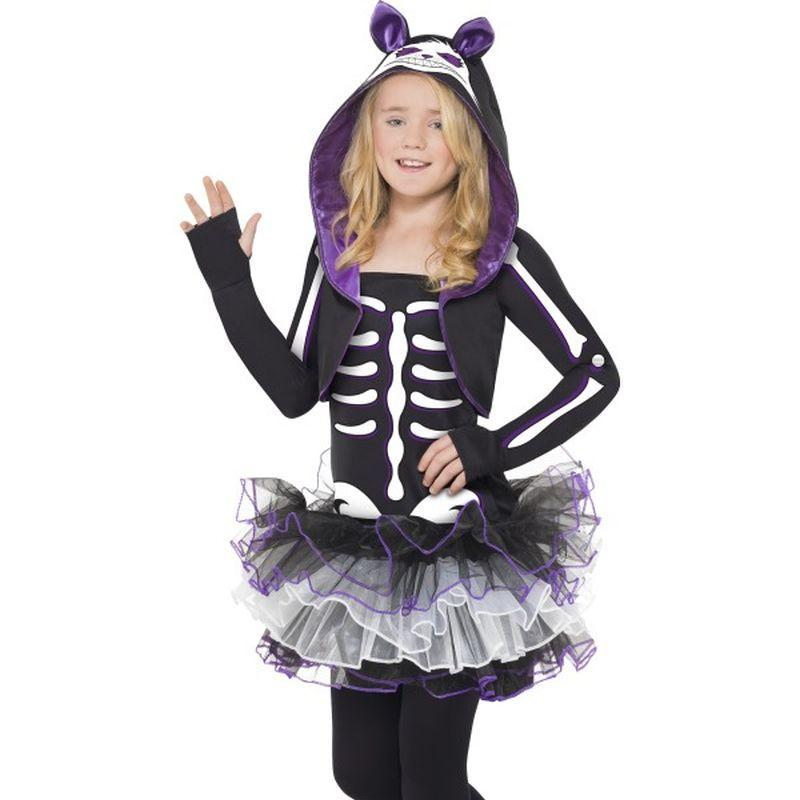 Skelly Cat Costume - Teen 13+ Girls Black/White