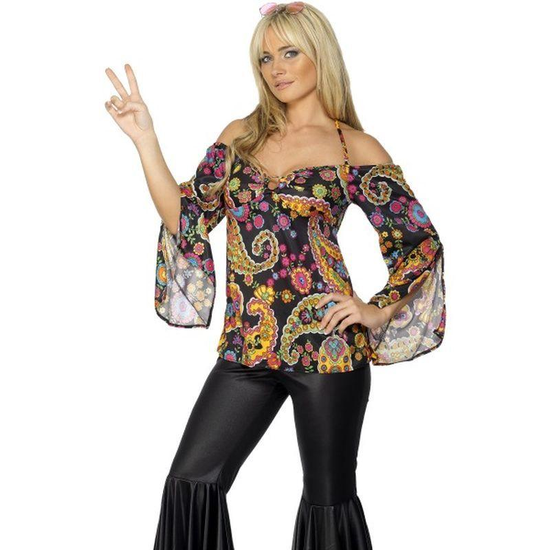 Hippie Costume, Female - UK Dress 8-10 Womens Black/Multi