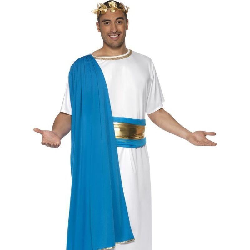 Roman Senator Costume - Medium Mens White/Blue