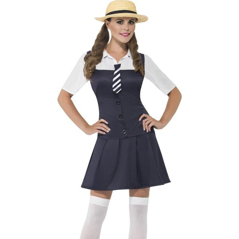 School Girl Costume - UK Dress 8-10 Womens White/Blue