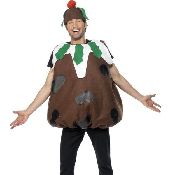 Christmas Pudding Costume, Adult - One Size Mens Brown/White
