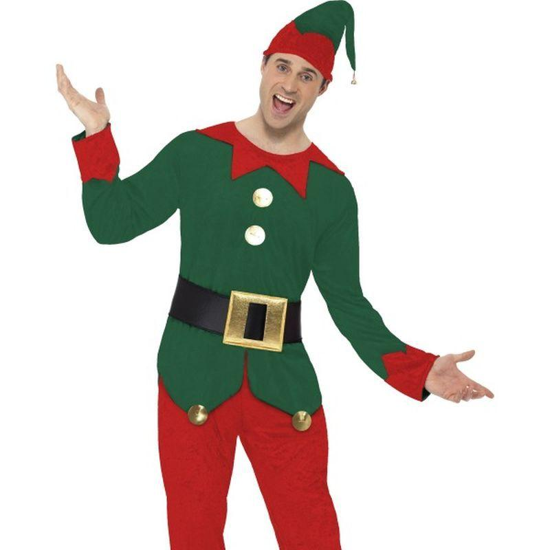 Elf Costume, Male - Medium Mens Green/Red