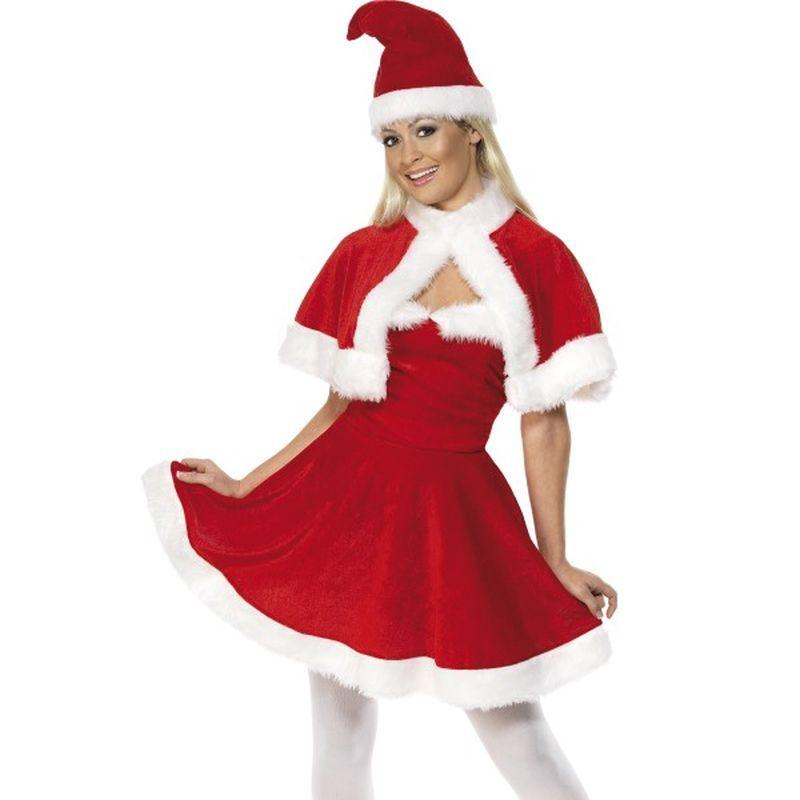 Miss Santa Costume with Cape - UK Dress 8-10 Womens Red/White