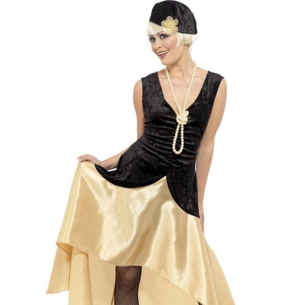 20s Gatsby Girl Costume, Black and Gold - UK Dress 20-22 Womens Black/Tan