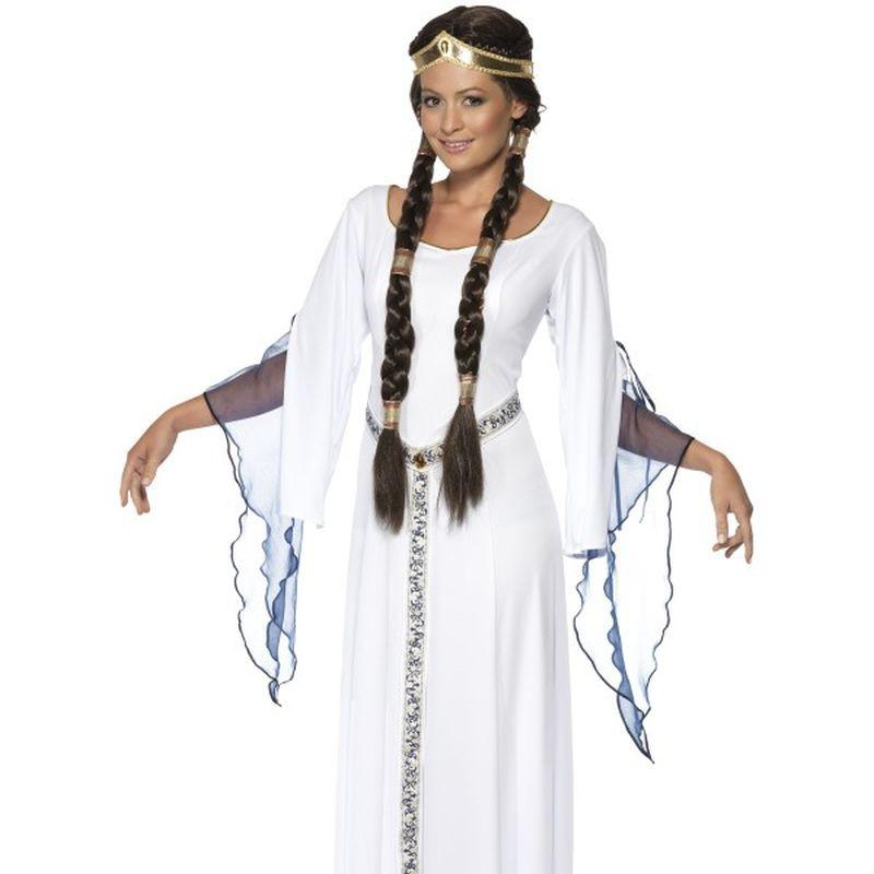 Medieval Maid Costume - UK Dress 12-14 Womens White/Blue