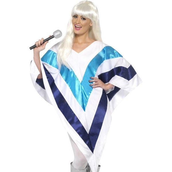 Super Trooper Cape / Poncho - One Size Womens White/Blue