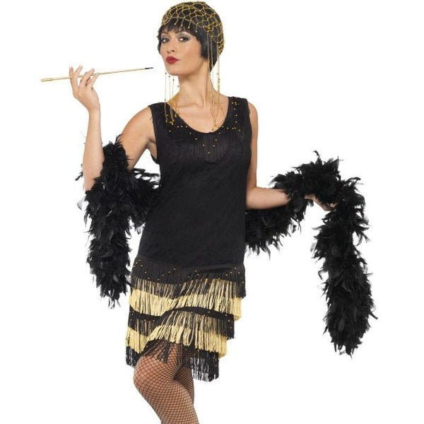 1920s Fringed Flapper Costume - UK Dress 8-10 Womens Black