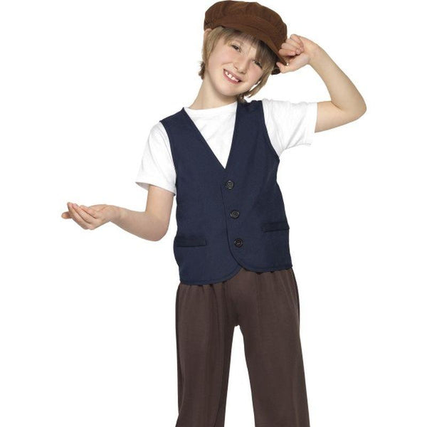 Victorian Poor Peasant Boy - Medium Age 7-9 Boys Blue/Brown