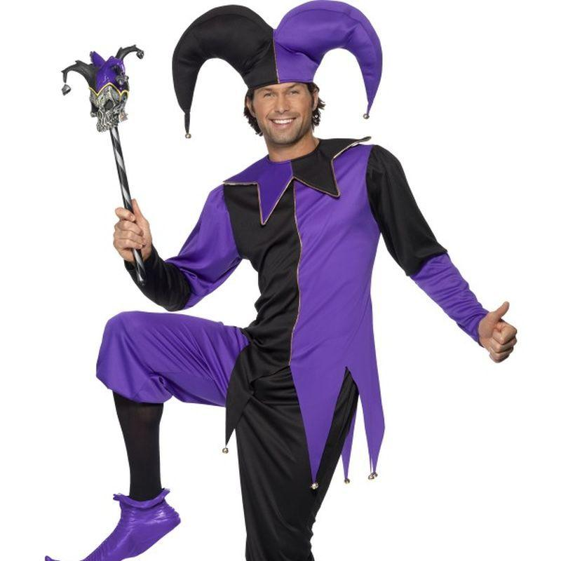 Medieval Jester Costume - Medium Mens Purple/Black