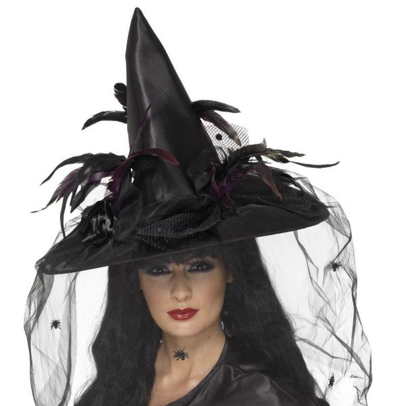 Witch Hat, Feathers & Netting - One Size