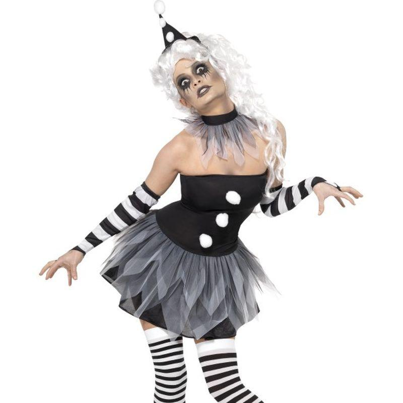 Sinister Pierrot Costume - UK Dress 8-10 Womens Black/White