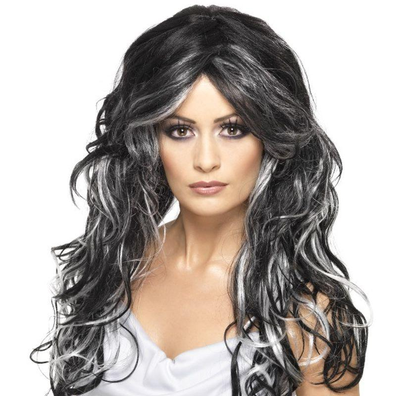 Gothic Bride Wig - One Size Womens Black/White