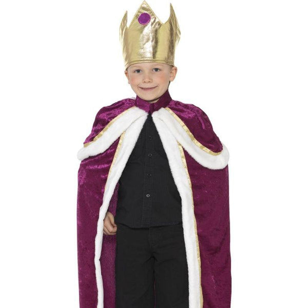 Kiddy King Costume - Small Age 4-6 Boys Purple/White