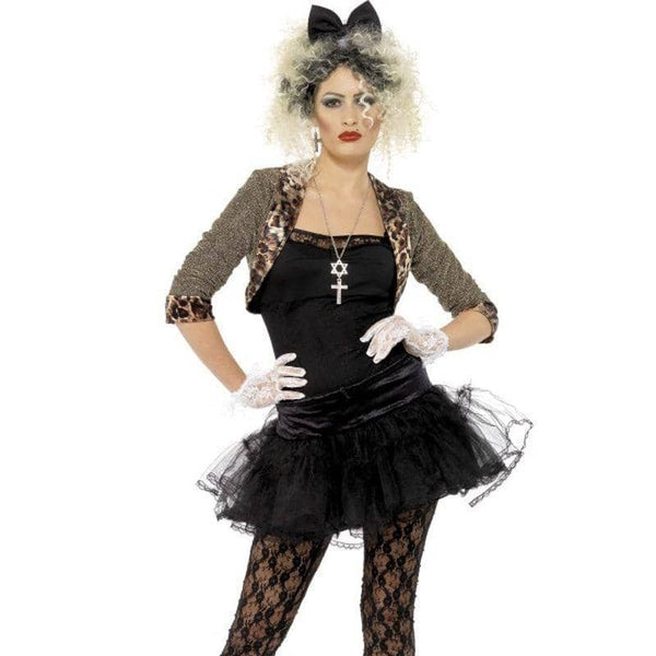 80s Wild Child Costume - UK Dress 16-18 Womens Black/Gold