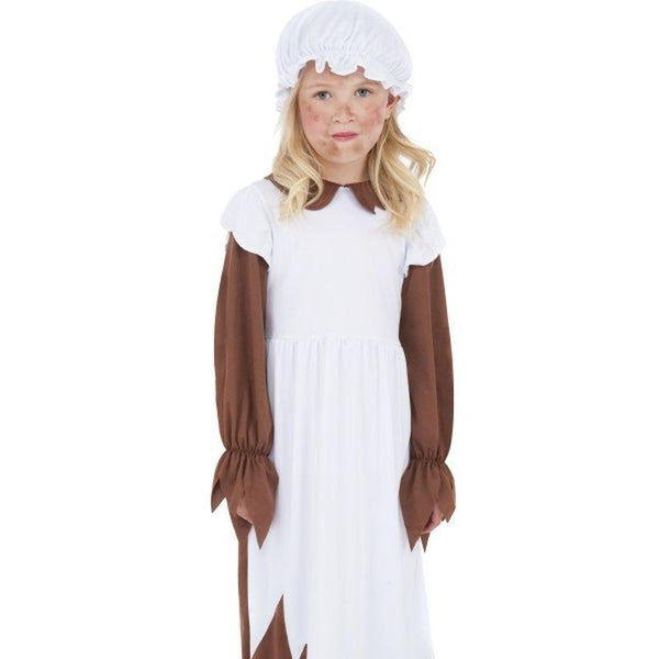 Poor Victorian Costume - Medium Age 7-9 Girls Brown/White
